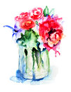 Beautiful flowers in vase watercolor illustration Royalty Free Stock Photography