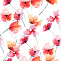 Beautiful flowers watercolor illustration with seamless pattern Stock Images