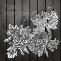 Beautiful flowers on a wooden texture black white Stock Photo