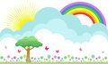 Beautiful flowery meadow illustration rainbow butterflies Royalty Free Stock Image