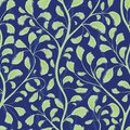 Beautiful flowing green hand drawn foliage design. Seamless vector pattern on textured midnight blue background. Great