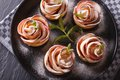 Beautiful food rose out of an apple horizontal top view closeup Stock Photography