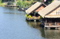 Beautiful food shop pontoons thai style in the river Stock Image