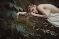 Beautiful forest maiden in Mother nature peace Royalty Free Stock Photo
