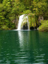 Beautiful forest waterfall Stock Photo