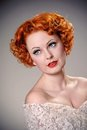 Beautiful forties styled redhead pretty eyes Royalty Free Stock Photography