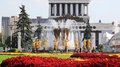Beautiful fountain friendship of nations in moscow at the exhibition Royalty Free Stock Photo