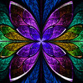 Beautiful fractal flower in blue green and purple computer generated graphics Stock Image