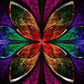Beautiful fractal flower in blue green and red computer generated graphics Stock Photo