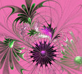 Beautiful fractal flower in violet and green on pink background. Royalty Free Stock Photo