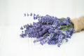 Beautiful fragrant lavender bunch in rustic home styled setting with copy space Royalty Free Stock Photography