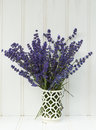 Beautiful fragrant lavender bunch in rustic home styled setting with copy space Royalty Free Stock Photo