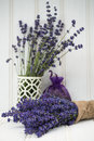 Beautiful fragrant lavender bunch in rustic home styled setting with copy space Stock Images