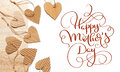 Beautiful frame of hearts of kraft paper and text Happy mothers day. Calligraphy lettering hand draw Royalty Free Stock Photo