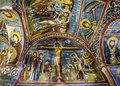 A beautiful fresco showing the Crucifiction of Christ at the Open Air Museum at Goreme in Cappadocia in Turkey. Royalty Free Stock Photo