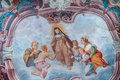Beautiful fresco on the wall of old ancient church Royalty Free Stock Photo