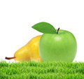 Beautiful fresh green apple and yellow pear in green grass isola Royalty Free Stock Photo