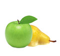 Beautiful fresh green apple and yellow pear isolated on white Royalty Free Stock Photo