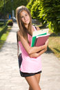Beautiful friendly teen student girl. Royalty Free Stock Photo
