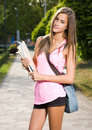 Beautiful friendly teen student girl. Royalty Free Stock Images