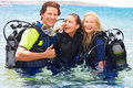 Beautiful friends scuba diving Stock Images