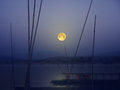 Beautiful full moon night over the river
