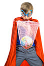 Beautiful funny boy dressed as superhero saving the earth superman Stock Photos