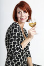 Beautiful funny young woman with glass of wine Stock Photos