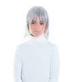 Beautiful futuristic kid girl futuristic child with gray hair Royalty Free Stock Photography
