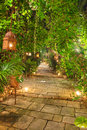 Beautiful garden path at night Royalty Free Stock Images
