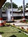 Beautiful garden with water fountain
