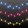 Beautiful garland with glowing lights. Lighting design elements.