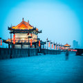 Beautiful gate tower ancient city wall dusk xian china Stock Images
