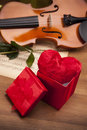 Beautiful geart in box and violin! Royalty Free Stock Photo