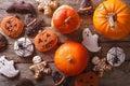 Beautiful gingerbread for Halloween and pumpkin. horizontal top Royalty Free Stock Photo