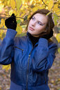 Beautiful girl amongst the autumn leaves Royalty Free Stock Image