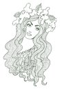 Beautiful girl artistic vector drawing of a with floral chaplet on her head Stock Photography