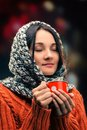 Beautiful girl attractive young lady drinking hot tea Royalty Free Stock Images