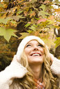 Beautiful girl in the Autumn fall Stock Images