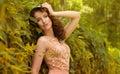 Beautiful girl in autumn garden Stock Photography