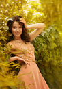 Beautiful girl in autumn garden Royalty Free Stock Images