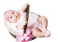 Beautiful girl baby in a basket Royalty Free Stock Photos