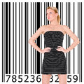 Beautiful girl and bar code blonde Royalty Free Stock Photo