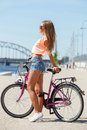 Beautiful girl with bike Royalty Free Stock Photo