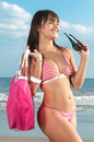 Beautiful girl with bikini at the seaside blue Stock Images