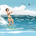 Beautiful girl in bikini on water ski. Young woman on summer vac
