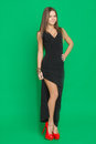 Beautiful girl in a black dress on green background Royalty Free Stock Photography