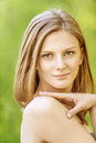 Beautiful girl blonde closeups short hair Royalty Free Stock Photo