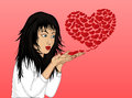 Beautiful girl blowing hearts of his hands. Vector illustration.