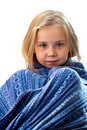 Beautiful girl in blue blanket Royalty Free Stock Images